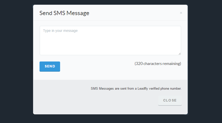 Send SMS messages live from within the platform and receive messages back too!